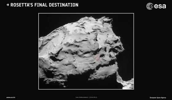 紅圈是羅塞塔號長眠在彗星的位置