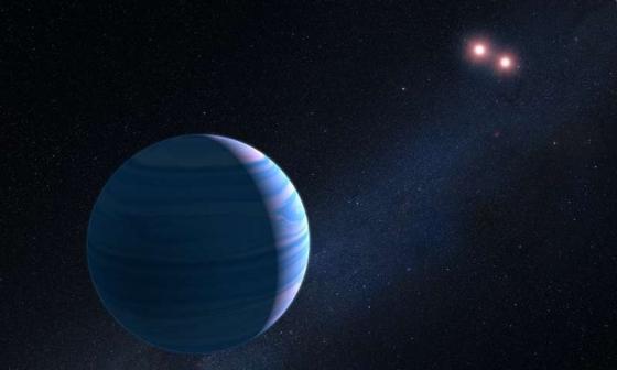 畫家筆下氣態行星環繞兩顆紅矮星運行