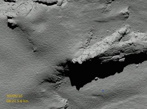 藍點是羅塞塔將會降落的位置