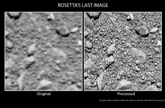 羅塞塔號拍攝的最後一張照片(右圖經過處理)
