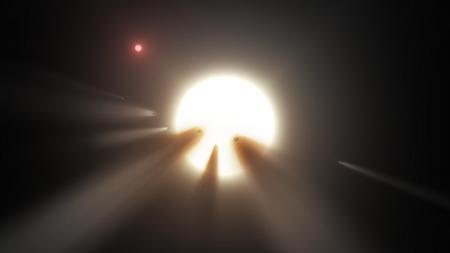 畫家筆下的彗星群遮擋母恆星的光芒