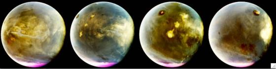 今年七月九日至十日期間火星上迅速形成的雲彩