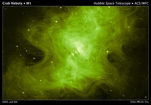蟹狀星雲碎屑核心呈現幽靈輝光