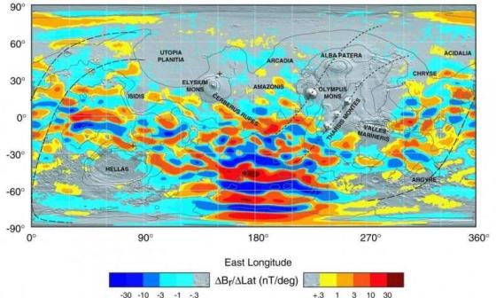 火星磁場分佈圖