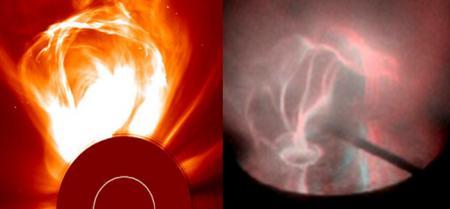 日冕環(左)和實驗室創造的日冕環(右)