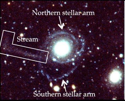 GASS 3505星系微弱的氫氣噴流(左邊)