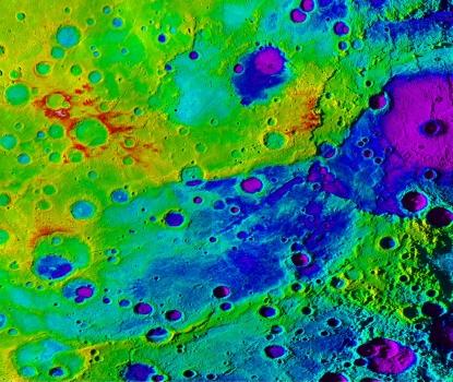立體地形圖中的深藍色是水星上巨大山谷