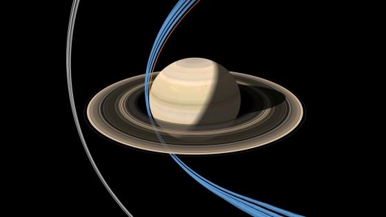 卡西尼號穿過土星環的路徑圖