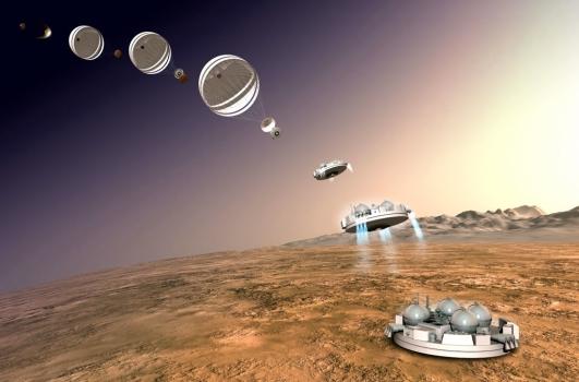 畫家筆下夏帕雷利登陸器登陸火星步驟