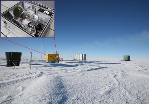 南極冰穹A站址現場照片和傅里葉光譜儀內部照片
