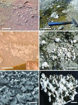 火星上的蛋白石(左)與地球上的層疊石(右)對比