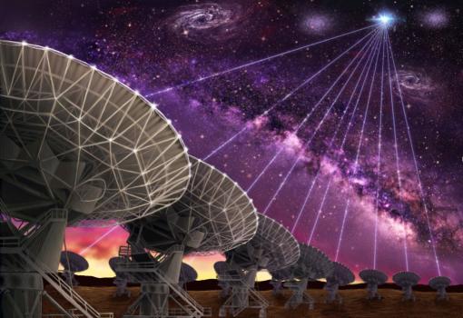 特大天線陣正在取得快速電波爆發精確位置的情景