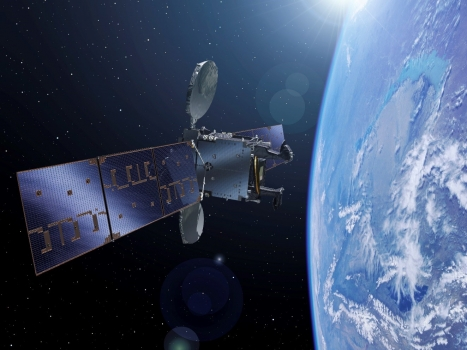 畫家筆下的Hispasat 36W-1小型地球同步通訊衛星