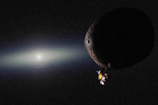 畫家筆下的新視野號太空船掠過2014 MU69