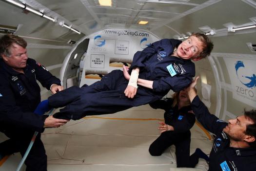 霍金在太空無重狀態下的合成照片