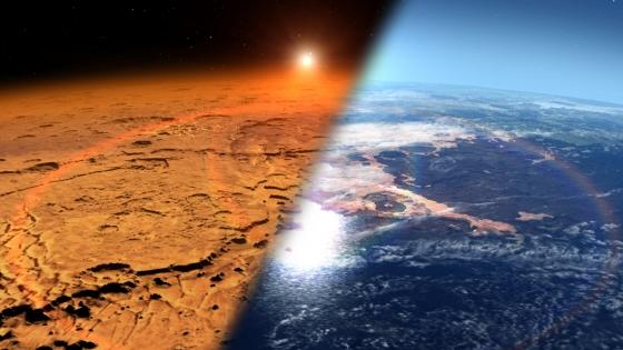 現時的火星(左)和早期火星擁有大氣和海洋(右)