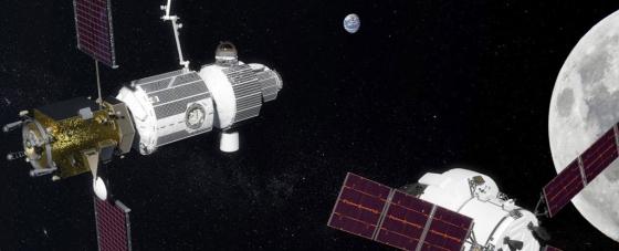 畫家筆下月球軌道上建造中的太空港