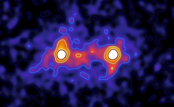 兩個距離四千萬光年星系之間的暗物質