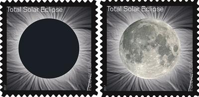 美國郵政使用感應溫度變色油墨日全食紀念郵票