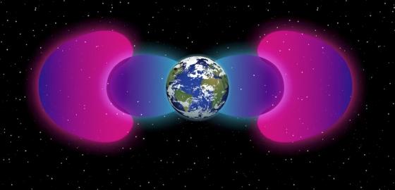 紫色屏障將粉紅色的范亞倫輻射帶推離地球
