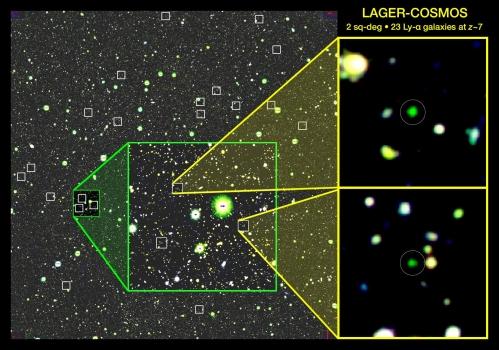 宇宙早期二十三個紅移7.0星系的分佈