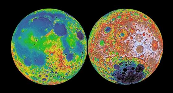 月亮表面上的高低地形右側可能保存月球大氣的早期記錄。